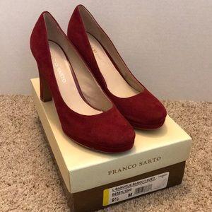 Franco Sarto classic red, suede platform heels